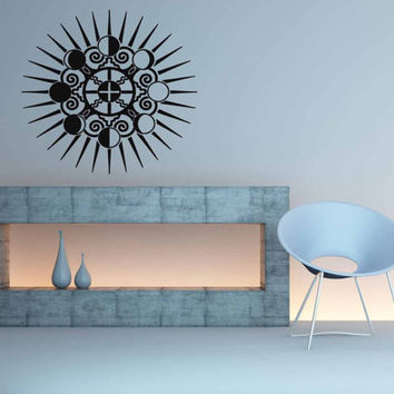 Moon Phases Earth And Sun Symbol Room Wall Vinyl Sticker Decal Art Decor 1378