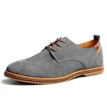 Men casual flats lace up male suede oxfords leather shoes