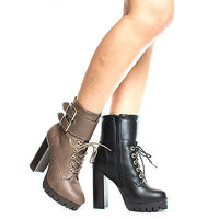 Veronica08 Lace Up Combat Lug Sole Platform Stacked High Heel Ankle Boots