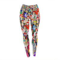 """Notsniw """"Where's Bowie?"""" Red Black Yoga Leggings"""