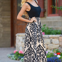 Another Love Song Maxi Dress - Black/Taupe