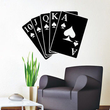 Wall Decals Playing Cards Queen Of Spades Decal Bedroom Vinyl Sticker Decor DA44