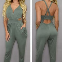 Green V-Neck Cut-out Cross Back Jumpsuit