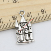 20pcs Antique Silver Tone Castle House Charms Pendants for Jewelry Making DIY Handmade Craft 22x12mm B215