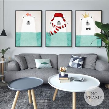 Nordic Style Canvas Painting gift Cartoon Polar Bear Posters Kids Love Print Home Decor Wall Art Pictures For Living Baby Room