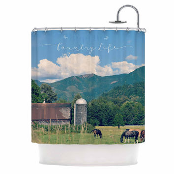 """Robin Dickinson """"Country Life"""" Green Blue Shower Curtain"""
