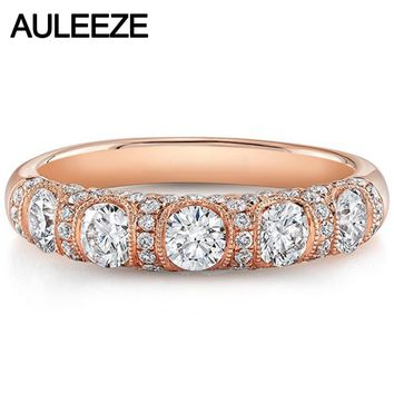 Vintage Milgrain Moissanite Engagement Wedding Band 14K Rose Gold Five Lab Grown Diamond Daily Life Match Band Fine Jewelry