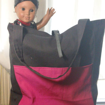 "Sleepover Ready!! 18"" doll carrier, fits 2 dolls plus accessories!!~Charcoal and Pink~ Ready to ship!"