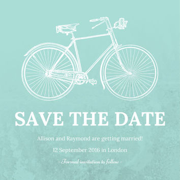 Customisable Save the Date postcard in On Yer Bike: Email or print yourself