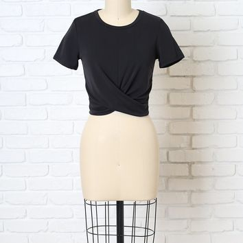 Black Cropped Twist Tee