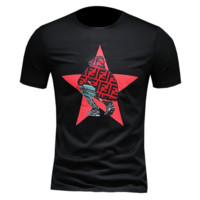 Fendi New fashion letter star people print couple top t-shirt Black