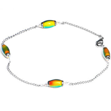 Handcrafted Mood Bead Anklet Created with Swarovski Crystals