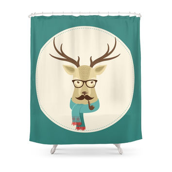 Society6 Rustic Christmas Reindeer Hipster Shower Curtain