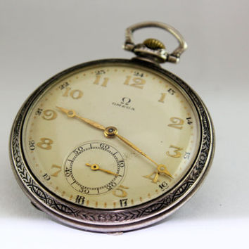 Vintage Omega Silver Art Deco Pocket Watch 1930