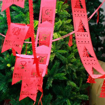 Merry Christmas Gift Christmas Tree Hanging Flag Banner Ornament Home Popular! Colorful Birthday Garland Banner Party Suppliers