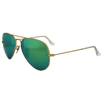 Ray-Ban Sunglasses Aviator 3025 112/19 Gold Green Flash Mirrored Small 55mm