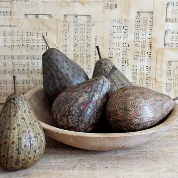 Primitive Pear Bowl Fillers, Green Pear Fruit, Rustic, Cottage, Farmhouse Decoration
