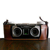 Vintage Camera Kodak Stereo Camera with Strap and Matching Leather Case