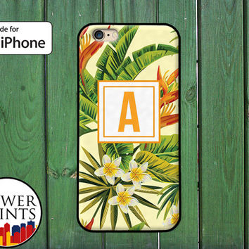 Tropical Flowers Leaves Monogram Letter Initial Yellow Cute iPhone 5 5s 5c iPhone 6 and 6 Plus iPhone SE iPhone 6s Case iPhone 7 Plus Case