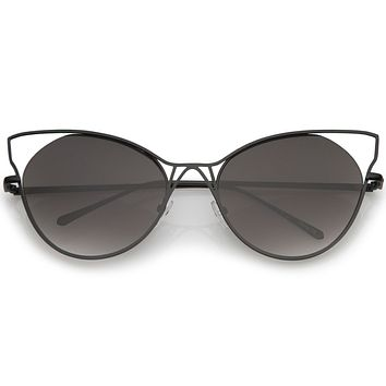 Women's Oversize Laser Cut Round Cat Eye Sunglasses A934