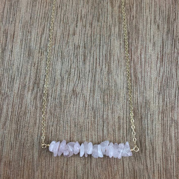 14k gold filled rose quartz chip bead bar necklace / bridesmaid necklace / dainty necklace / minimalist necklace / January birthstone