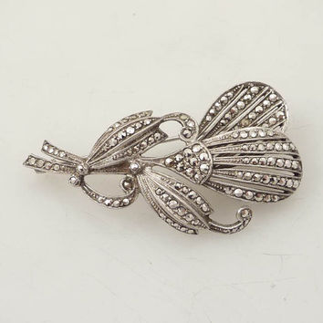 Exceptional Quality Antique Art Deco Belgium .835 Silver and Real Marcasite Flower Brooch