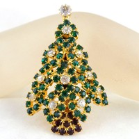 Vintage EISENBERG Rhinestone Multi Layered Christmas Tree Pin Book Piece