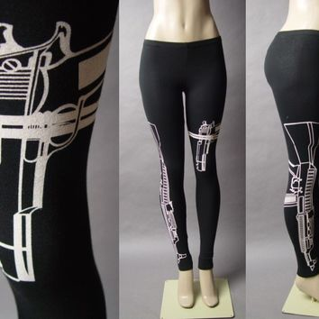Machine Gun AK-47 Pistol Graphic Print Rebel Punk Women Pant 25 mv Legging S M L