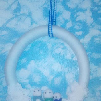 Crochet Snowman Wreath/Yarn Wreath/Christmas/Snowman Wreath/Snowflake Wreath