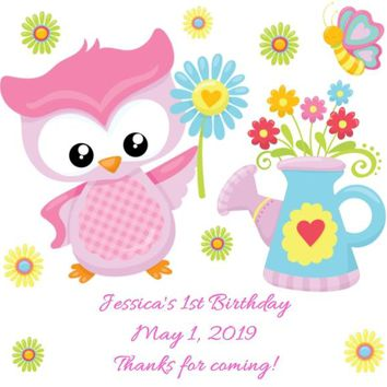 Pink Owl Birthday Party Favor Tags