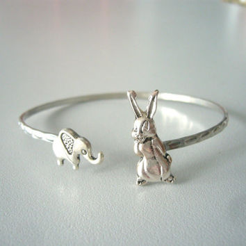 Bunny cuff bracelet with an elephant wrap style