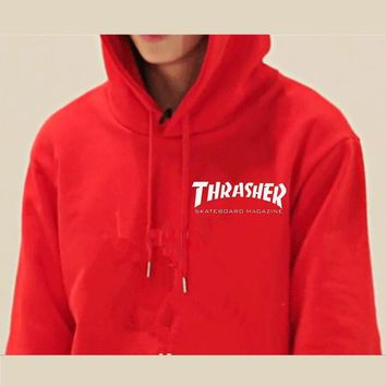 ThrasherQuality hooded sweater flame slide hip sweater Letters on the side Red