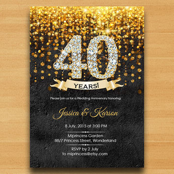 Wall texture,  invitation, Anniversary Invitation, Wedding Anniversary 30th 40th 50th 60th 70th glitter gold elegant design  - card 321