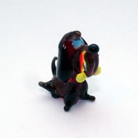 Black Glass Dog Figurine Glass Dog Glass Animal Sculpture Glass Figurine Glass Figure Glass Animals Glass Figurines Glass Figures Dog(195)