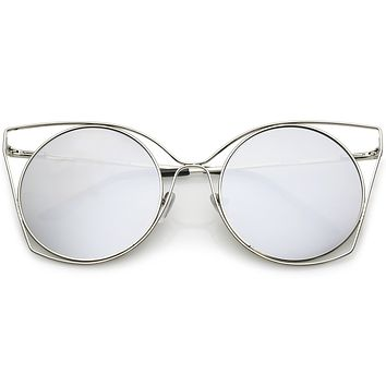 Women's Oversize Round Mirrored Flat Lens Wire Frame Sunglasses C318