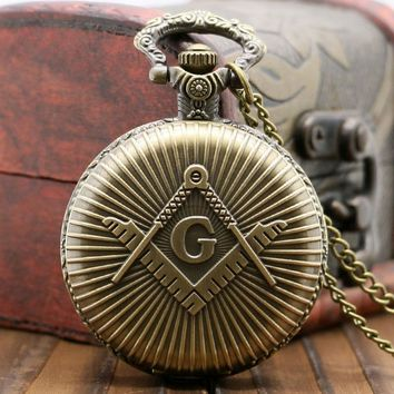 Bronze/Silver Freemasonry Masonic Design Vintage Antique Quartz Pendant Pocket Watch with Chain Necklace Fob Clock Best Gifts