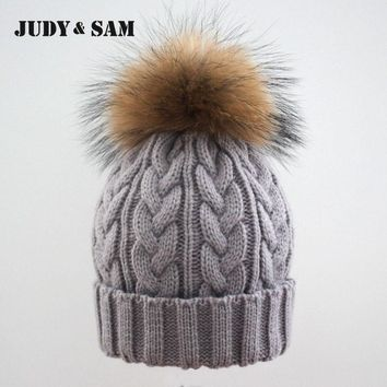 Cable Knitting Women Hat With Raccoon Fur Pom Poms Warm Winter Colorful Hip Hop Men Cap
