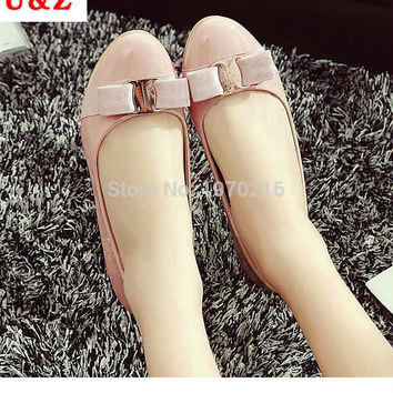 Spring summer 2016 Lovely patent leather satin bow flats shoes & Block heels Black/Navy,brand golden buckle ballet flat loafers