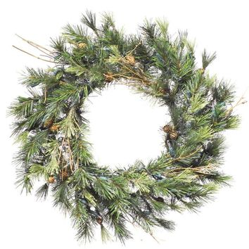 "16"" Pre-Lit Mixed Country Pine Artificial Christmas Wreath - Clear Dura Lights"