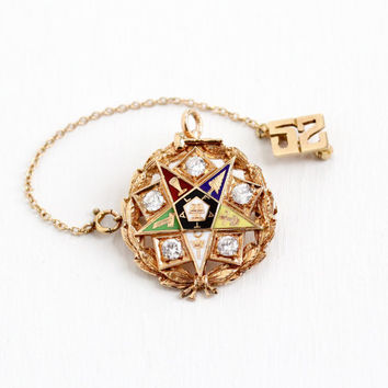 Vintage 14k & 10k Rose Gold Order of the Eastern Star Enamel Pendant Laurel Wreath Pin - 1950s OES Masonic Rhinestone Pendant 1952 Jewelry