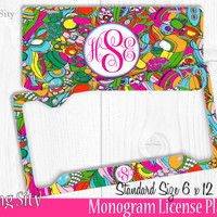 Colorful Paisley Monogram License Plate Frame Holder Metal Wall Sign Tags Personalized Custom Vanity Country Girl