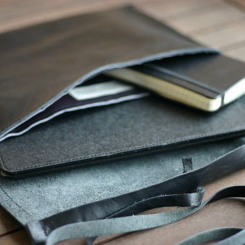 Ipad leather case. Handmade Leather Ipad case. Moleskine cover. Leather case