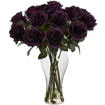 Silk Flowers -Blooming Purple Elegance Roses With Vase Artificial Plant