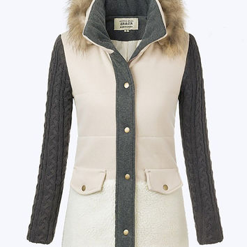 Raccoon Fur Collar Hooded Long Sleeve Jacket