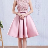 Lamya Short A Line Pink Stain Prom Dresses For Women Lace Wedding Party Fromal Dress