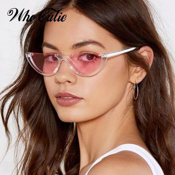 38ea5806c64 WHO CUTIE 2018 Half Moon Slim Sunnies Sunglasses Women Brand Des