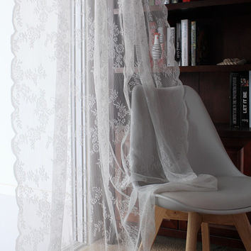 Lace Curtains Kitchen Window Rustic Home Decor White Sheer Curtains Flower Pattern Short Tulle Drapes Single Panels