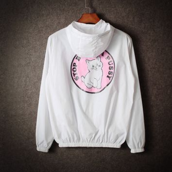 Couples tide male and female sun clothing cartoon cat windbreaker coat White