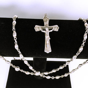 Sterling Silver Bead Rosary, Sterling Silver Crucifix, Signed Creed Sterling, Smooth Oval and Round Bead Necklace with Cross