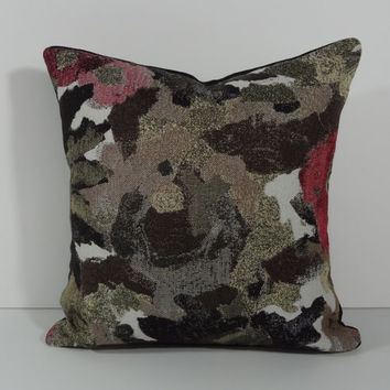 Decorative Pillow Cover, Black, White, Red, 16 x 16,  Cushion Cover